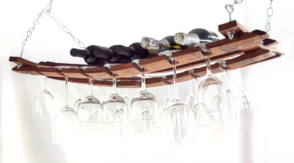 Barrel Stave Hanging Wine Rack O Floinn Decor