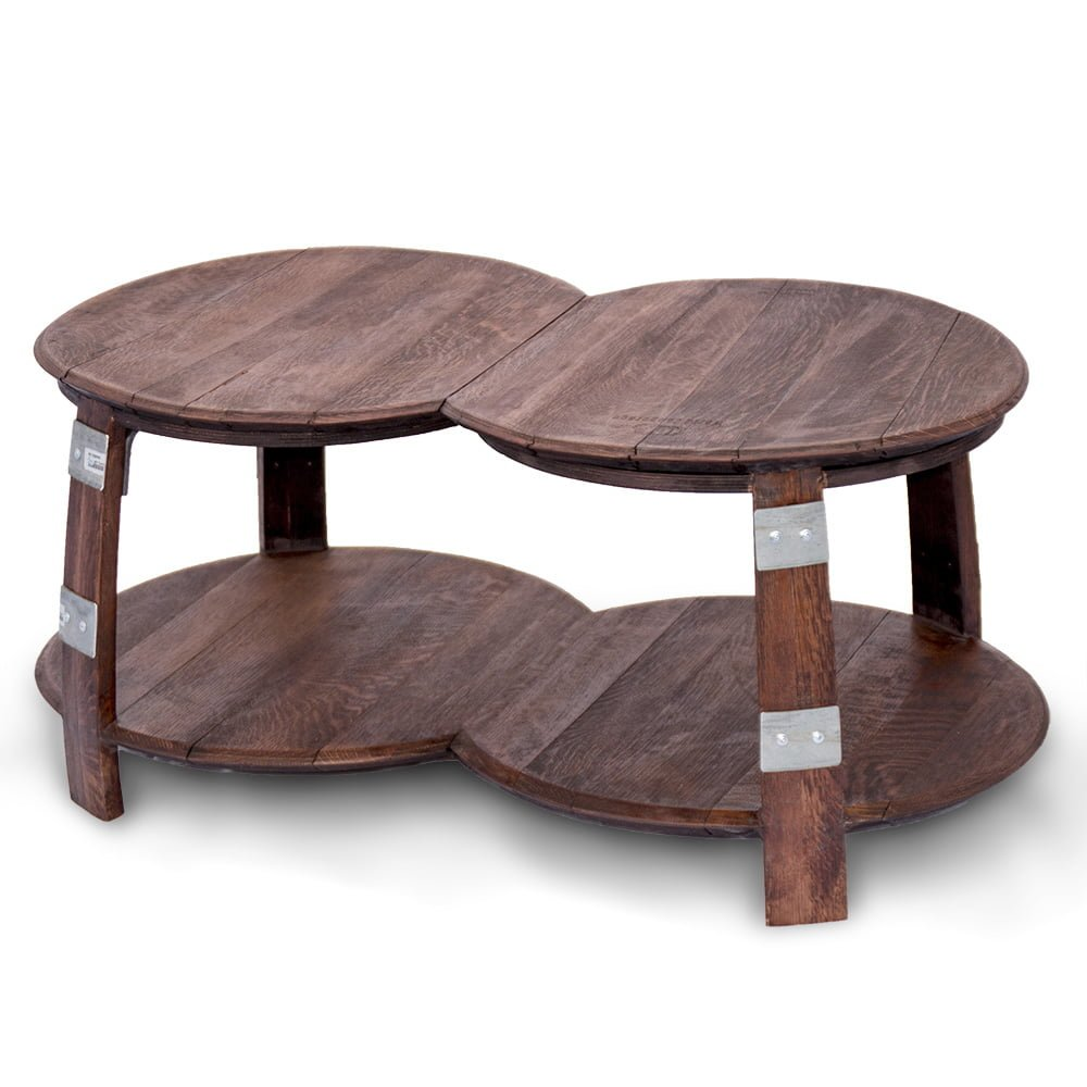 Wine barrel double round coffee table for Double round coffee table