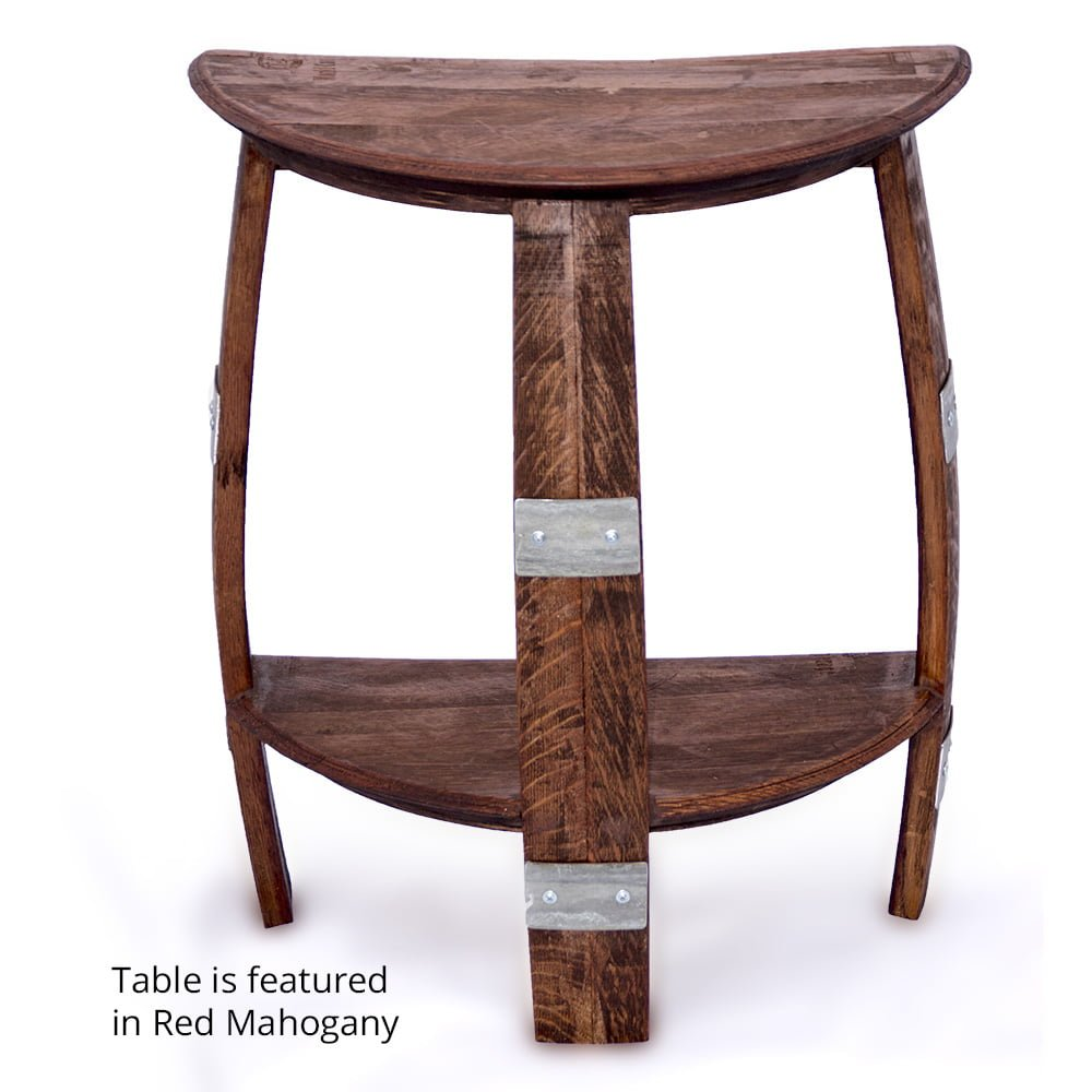 wine barrel half round end table with metal bands -